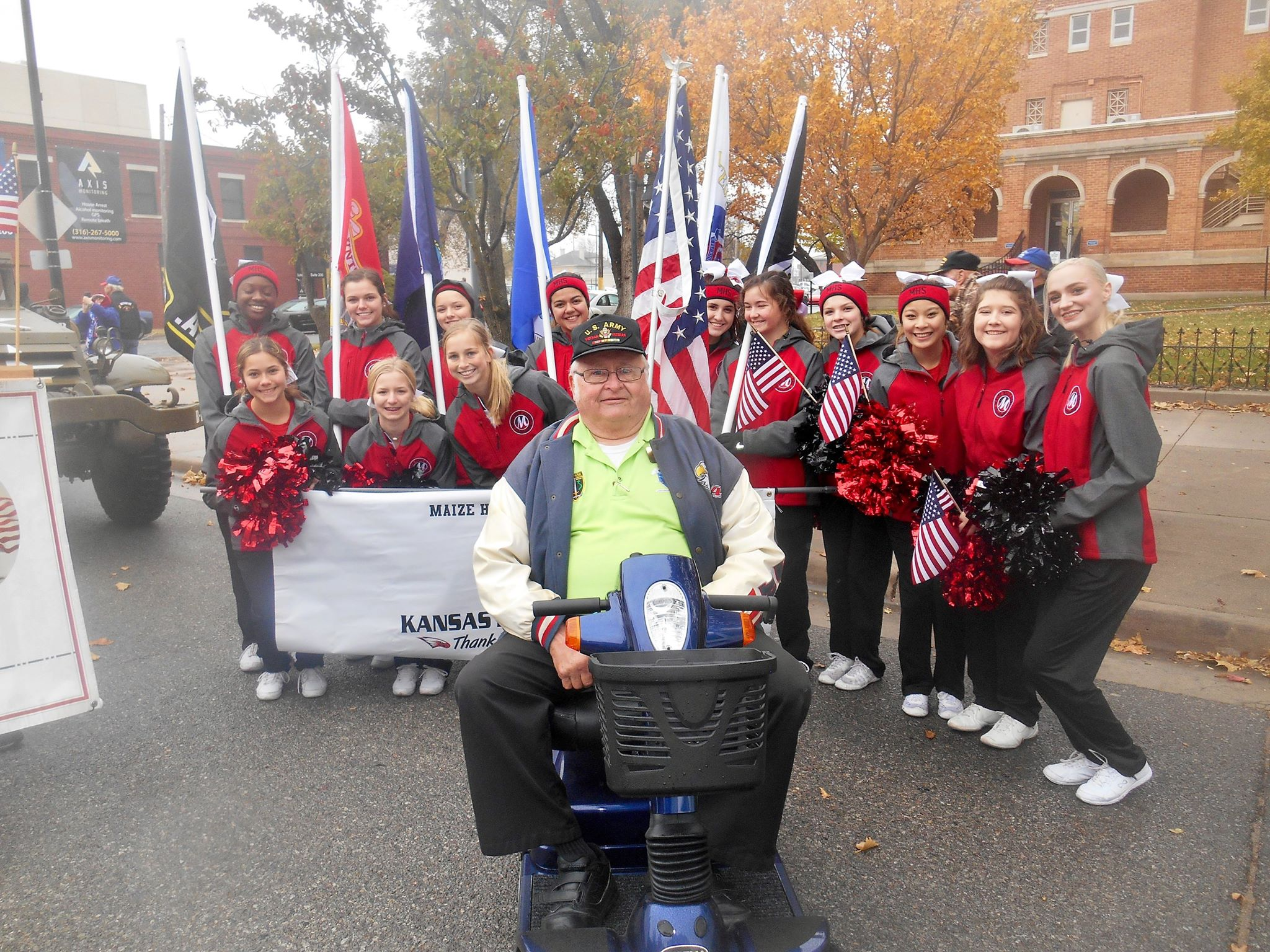 Maize High School Cheerleaders support the Kansas Honor Flight