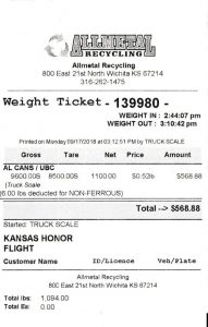 Allmetal Receipt for Kansas Honor Flight