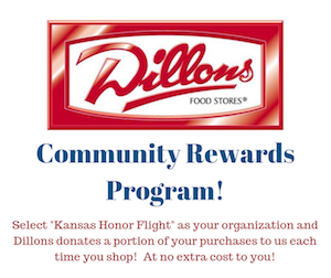 Kansas Honor Flight receives a percentage of grocery sales through the Dillons Community Rewards program