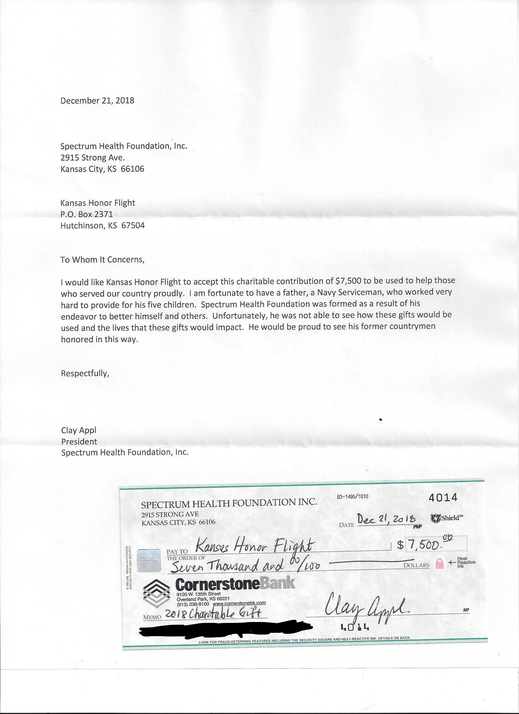 Letter from Clay and Sheryl Appl to Kansas Honor Flight