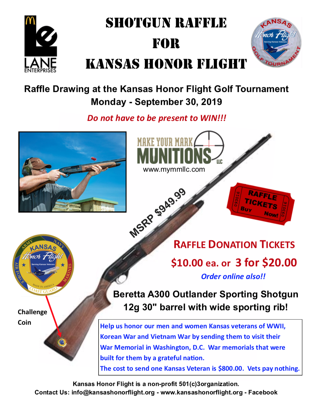 Shotgun Raffle Flyer for Kansas Honor Flight