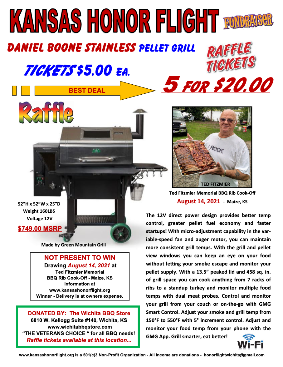 KHF Daniel Boone Stainless Pellet Grill - Raffle Tickets (Tickets $5 each or 5 for $20)